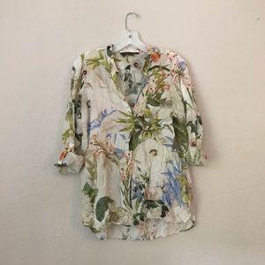 Zara Woman Floral Print Blouse